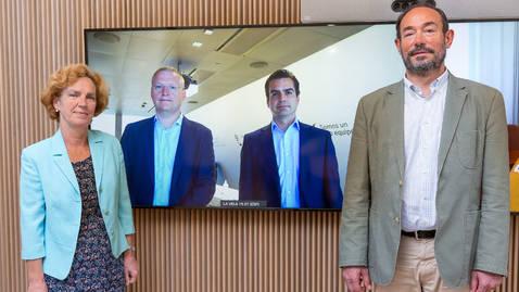 De izquierda a derecha, Iciar Astiasarán, Ricardo Martín, Carlos Casas y Jesús López Fidalgo, durante la colaboración formalizada hoy en un evento telemático.