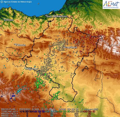 Más de 1.000 rayos se registraron este sábado por la noche en Navarra