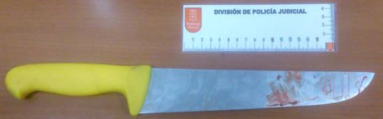 Cuchillo utilizado en la agresión