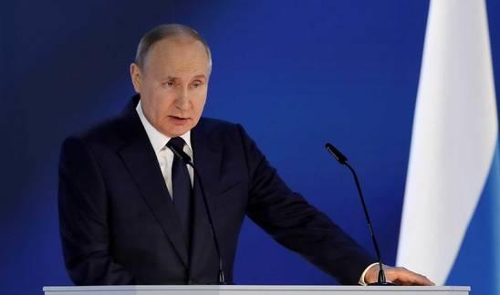 Foto de Putin, durante su discurso anual ante el Parlamento y el Gobierno.