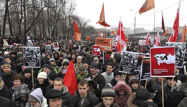 Imágenes de la manifestaciones en Rusia contra el fraude electoral de este sábado 10 de diciembre