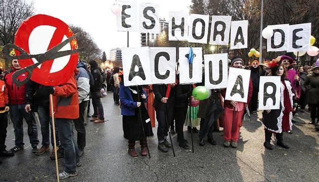 Manifestación celebrada este sábado en Pamplona convocada por la Iniciativa Popular por unos Presupuestos Participativos y Sociales