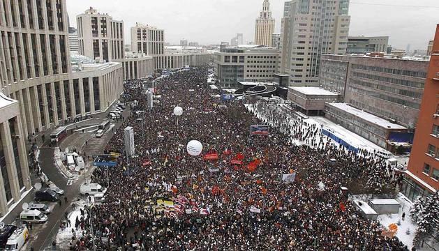Imágenes de las concentraciones en Rusia en protesta por el