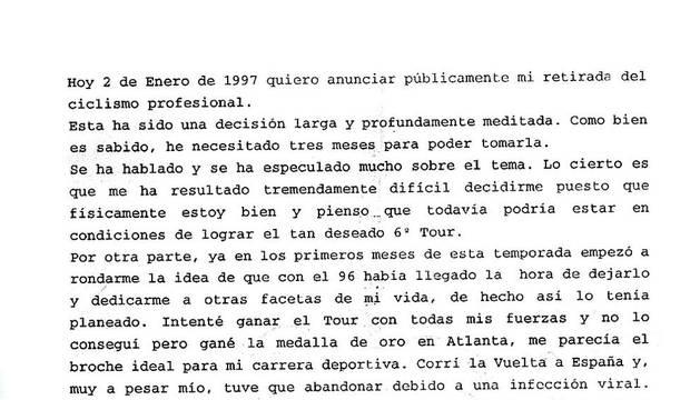 Discurso original de despedida de Miguel Indurain en el día de su retirada del ciclismo