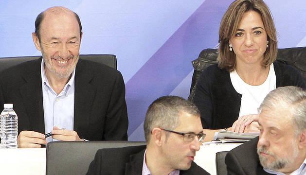 Alfredo Pérez Rubalcaba junto a Carme Chacón en el Comité Federal del PSOE del pasado 26 de noviembre