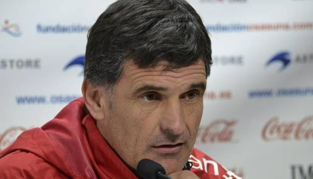 José Luis Mendilibar, en la rueda de prensa de este martes en Tajonar, en la previa del partido ante el Barça