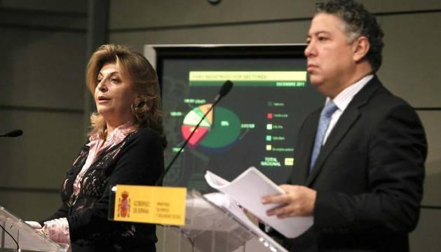 El secretario de Estado de la Seguridad Social, Tomás Burgos, y la secretaria de Empleo, Engracia Hidalgo, en un momento de la rueda de prensa en la que facilitan datos sobre la situación de la Seguridad Social