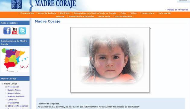 Pantallazo de la web de la Asociación Madre Coraje