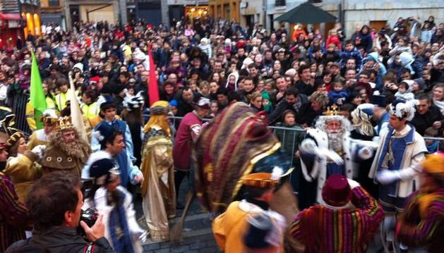 Melchor, en la plaza Consistorial de Pamplona