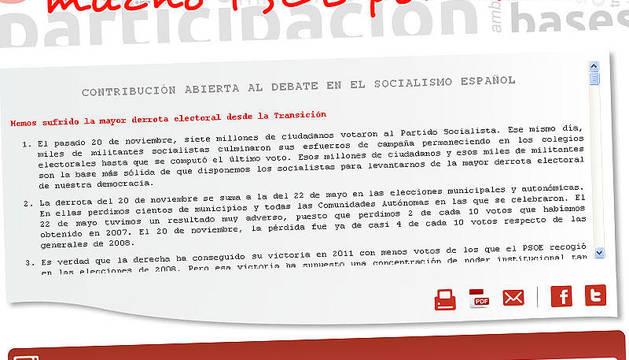 Página principal de la plataforma socialista