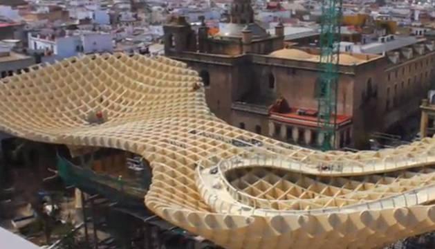 Vista aérea del proyecto arquitectónico de Sevilla, el Metropol-Parasol, que opta al reconocimiento