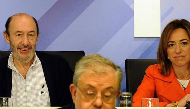 Los candidatos a la Secretaría General del PSOE, Alfredo Pérez Rubalcaba y Carme Chacón