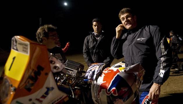 Marc Coma, antes del inicio de la última etapa del Rally Dakar