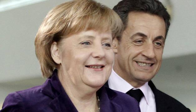 Merkel y Sarkozy, tras la reunión que han mantenido en Berlín