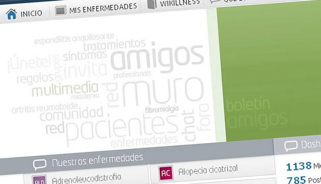 Página de inicio de la red social crada para personas con enfermedades crónicas, sus familiares o médicos