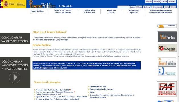Pantallazo de la web del Tesoro Público