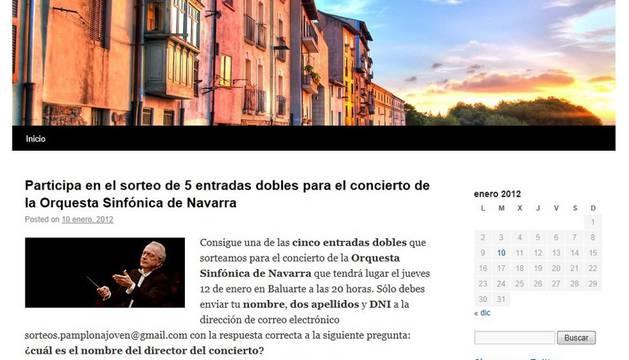 Pantallazo del blog de Pamplona Joven