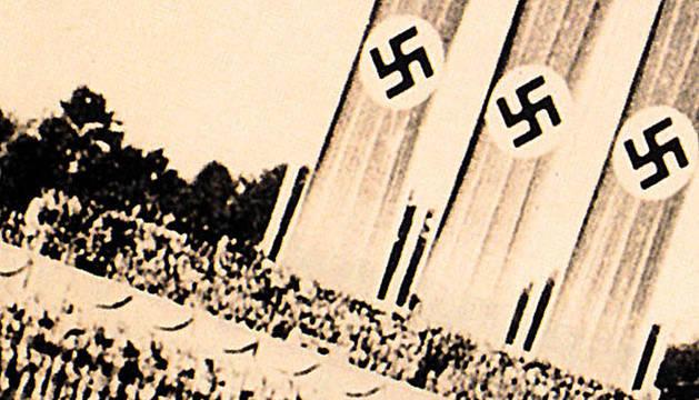 Vista aérea del congreso del partido nazi en Nuremberg en 1933