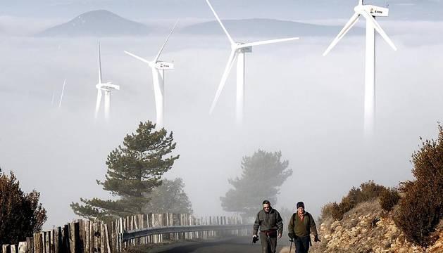 La Cuenca de Pamplona ha amanecido esta mañana rodeada por la niebla