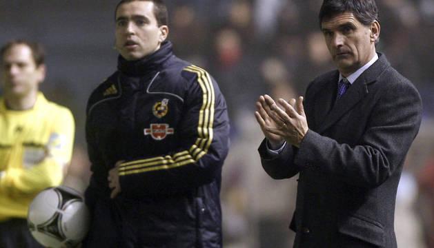 José Luis Mendilibar, entrenador de Osasuna, durante el partido ante el Barcelona