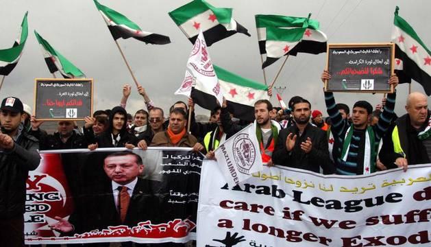Una manifestación contra el presidente sirio, esta semana