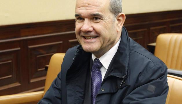 El exvicepresidente Manuel Chaves, durante la constitución de la Comisión de Seguimiento y evaluación de los acuerdos del Pacto de Toledo de la X legislatura en el Congreso de los Diputados.