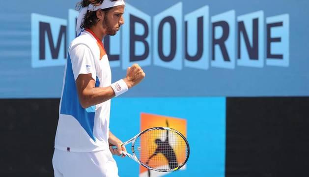 Feliciano López, durante el partido ante Cipolla en el Open Australia