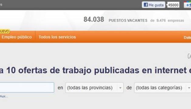 El portal de empleo InfoJobs con la nueva pestaña de empleo público