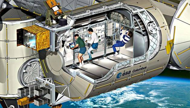 Imagen artística de Columbus, el módulo de laboratorio europeo dentro de la Estación Espacial Internacional