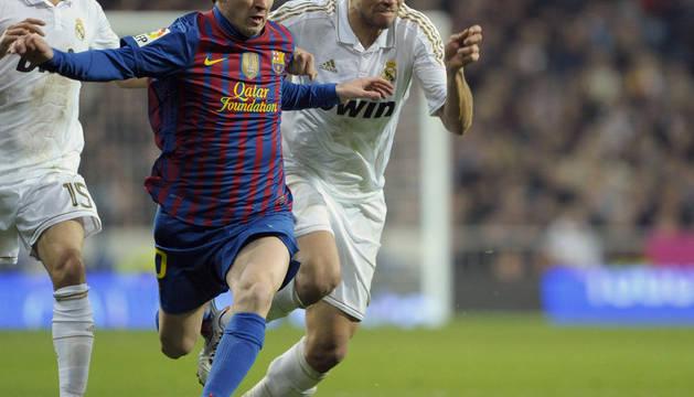 Coentrao, Pepe y Messi