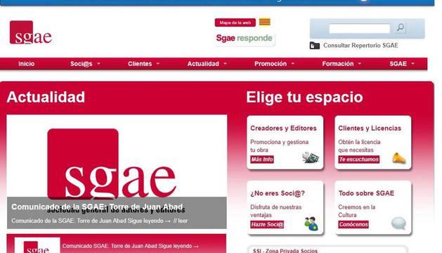 Pantallazo de la página web de la Sociedad General de Autores y Editores (SGAE)
