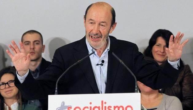 El candidato a la secretaría general del PSOE Alfredo Pérez Rubalcaba