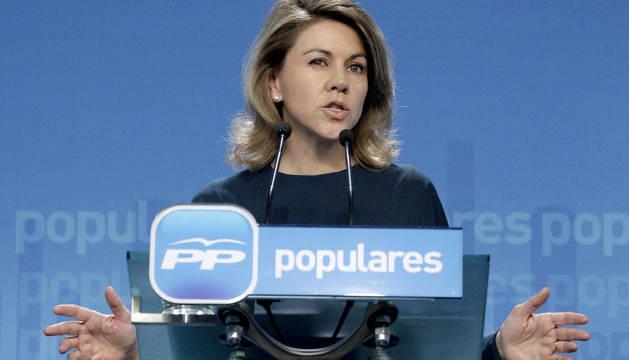 María Dolores de Cospedal, durante la rueda de prensa que ha ofrecido tras el Comité Ejecutivo del partido