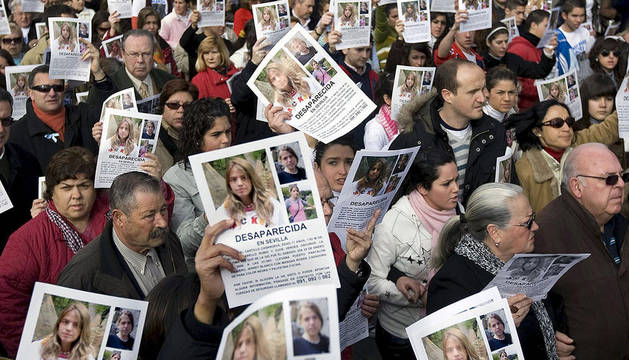 Manifestación que tuvo lugar en febrero de 2009, tras la desaparición de Marta del Castillo el 24 de enero de ese mismo año