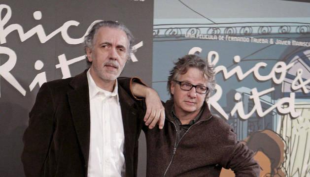 Fernando Trueba (izda) y el diseñador Javier Mariscal, durante la presentación de
