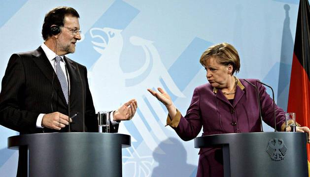 La canciller alemana, Angela Merkel, y el presidente del Gobierno español, Mariano Rajoy, durante la rueda de prensa en Berlín