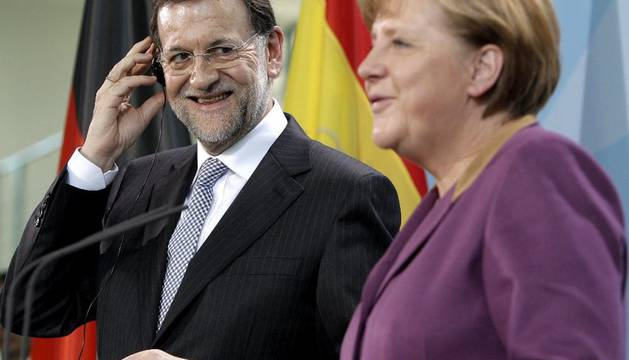 Rajoy y Merkel, en Berlín