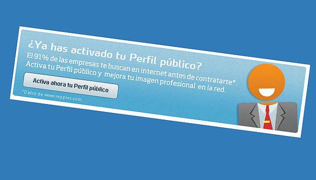 Muestra del anuncio que InfoJobs incluye en su página web para dar a conocer el 'Perfil público' accesible para sus usuarios