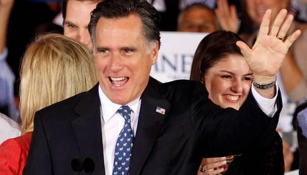 Mitt Romney a su llegada a Florida