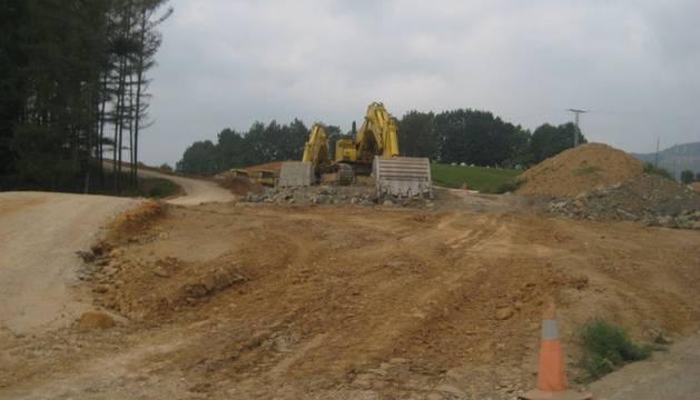 Obras en la variante de Irurita, a finales de 2011