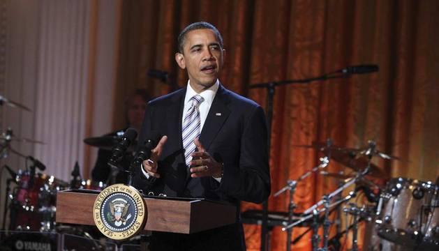Barack Obama, el presidente de EEUU, durante el concierto celebrado en la Casa Blanca