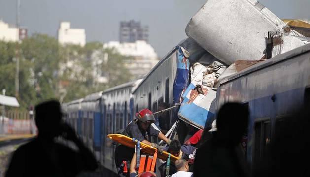 Imagen tras el accidente ferroviario de Buenos Aires