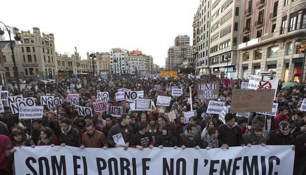 Imagen de la marcha de este miércoles 22 de febrero