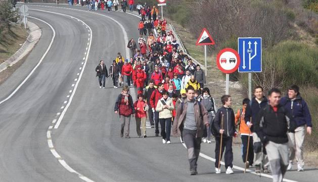 Peregrinos marchan a Javier en las ediciones de los años 2008, 2009, 2010 y 2011.
