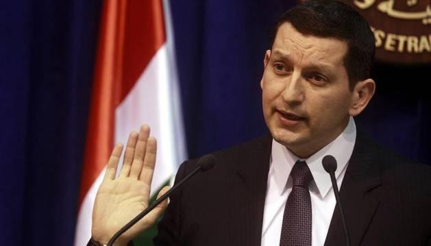 El ministro sirio de Asuntos Exteriores, Yihad Maqdesi, comparece en una rueda de prensa en Damasco, Siria, hoy, miércoles 29 de febrero de 2012