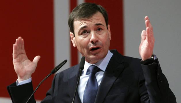 El reelegido secretario general del PSM, Tomás Gómez, durante su intervención ante los delegados del XII Congreso Regional.