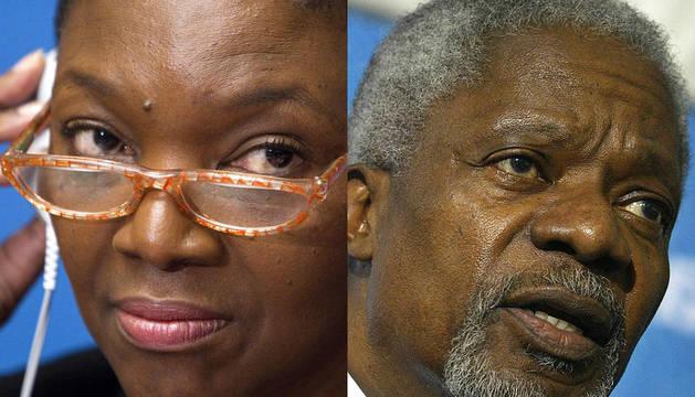 La responsable de la ONU para Asuntos Humanitarios, Valerie Amos (izquierda) y Kofi Annan, máximo responsable de Naciones Unidas entre 1997 y 2006 (derecha)