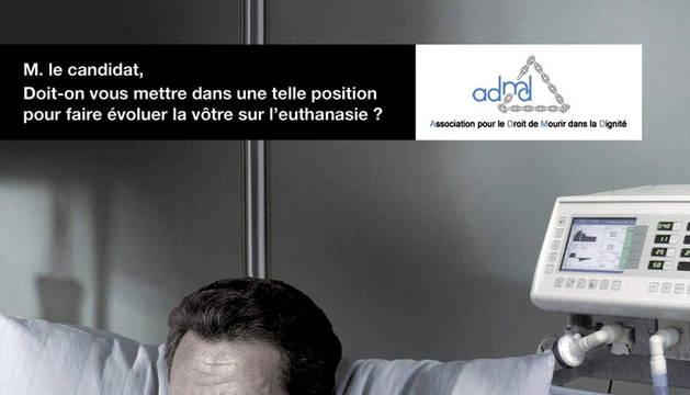 Foto facilitada por la Asociación para el Derecho a Morir Dignamente (ADMD) de Francia para su campaña publicitaria
