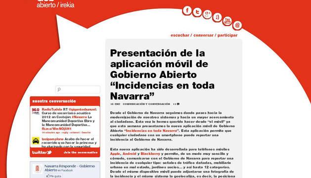 Pantallazo del el portal web Gobierno Abierto