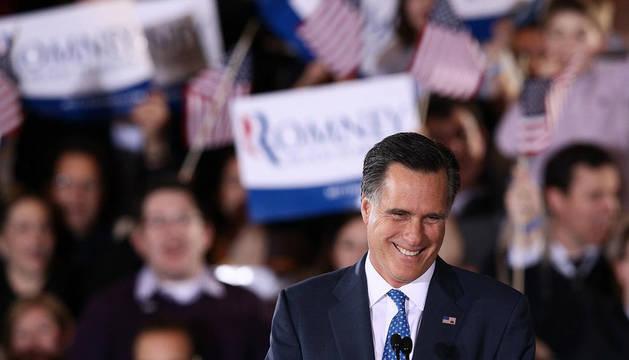 El candidato republicano Mitt Romney en Boston.